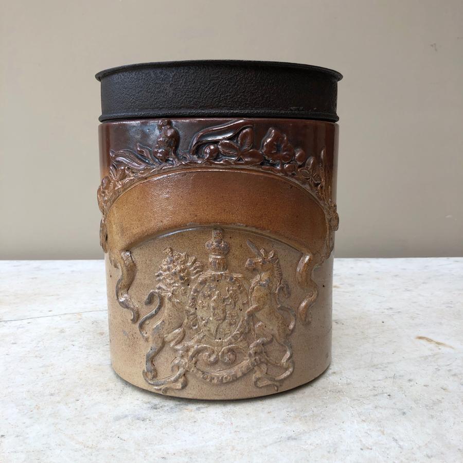 Superb Condition Victorian Salt Glazed Armorial Front Jar & Orig Lid