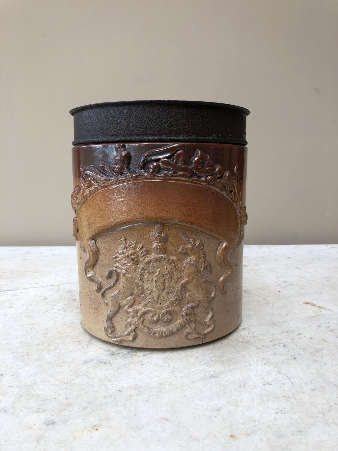 Superb Condition Victorian Salt Glazed Armorial Front Jar & Orig Lid