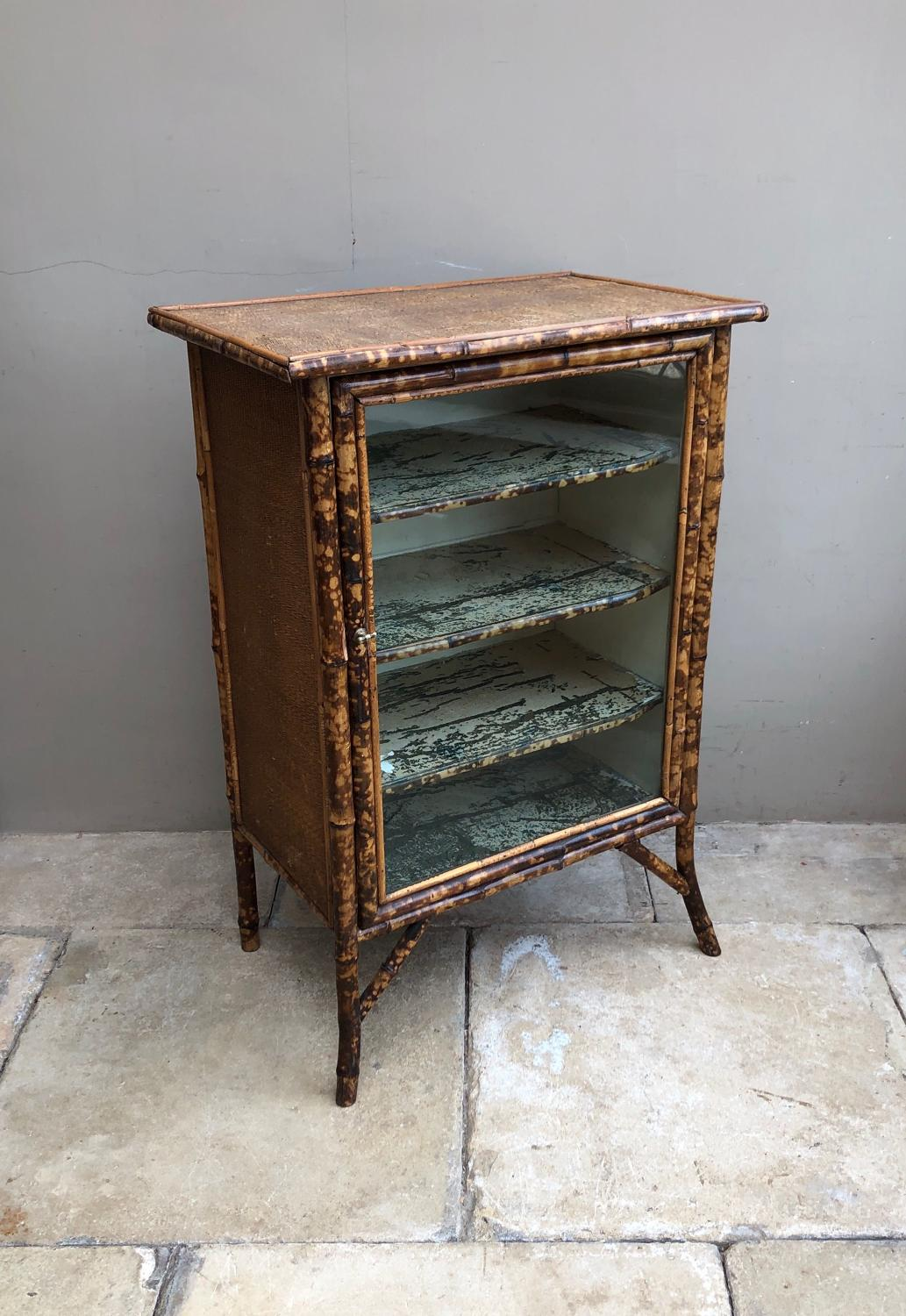 Early 20th Century Bamboo and Pine Glass Front Shelved Cupboard