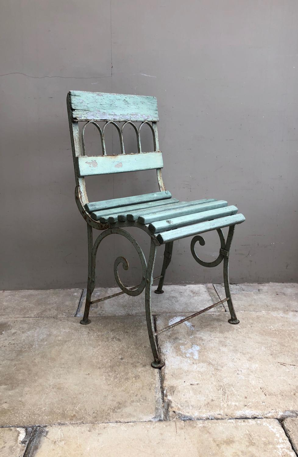 Victorian Cast Iron & Pine Garden or Conservatory Chair