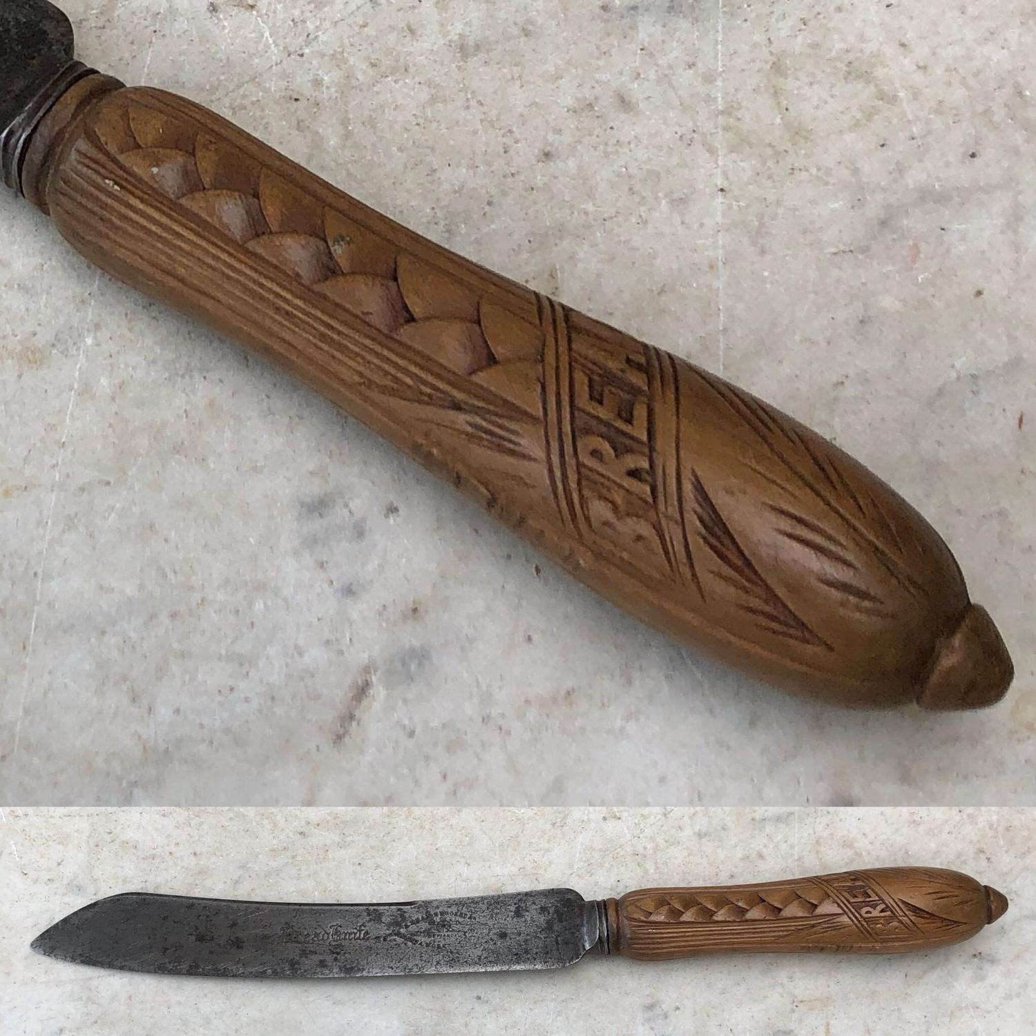 Late Victorian Unusual Diagonally Carved Bread Knife