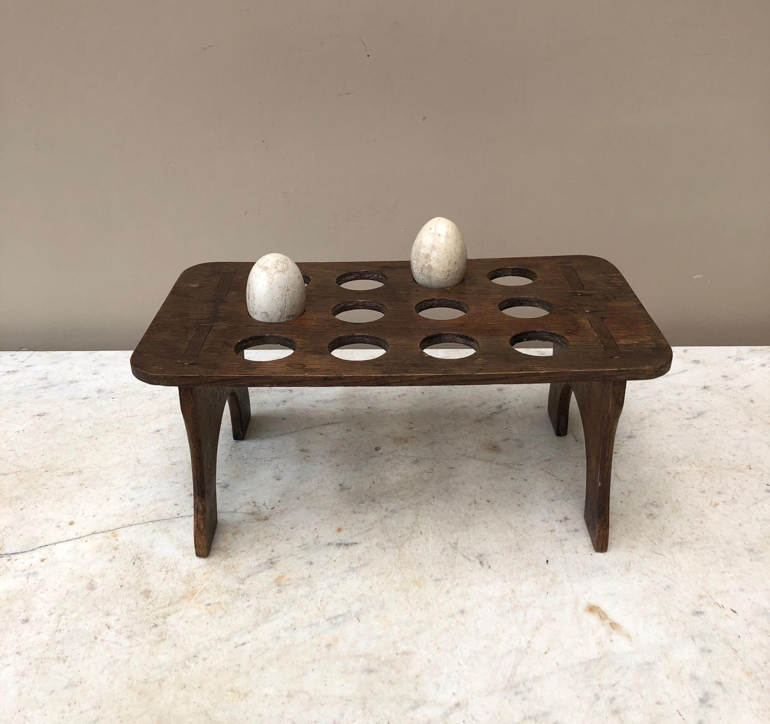 Edwardian Large Single Tier Oak Egg Rack - One Dozen Eggs
