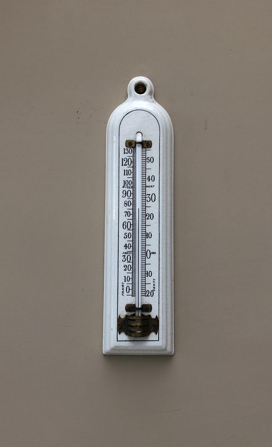 Edwardian White Ceramic Household Thermometer - Good Working Order