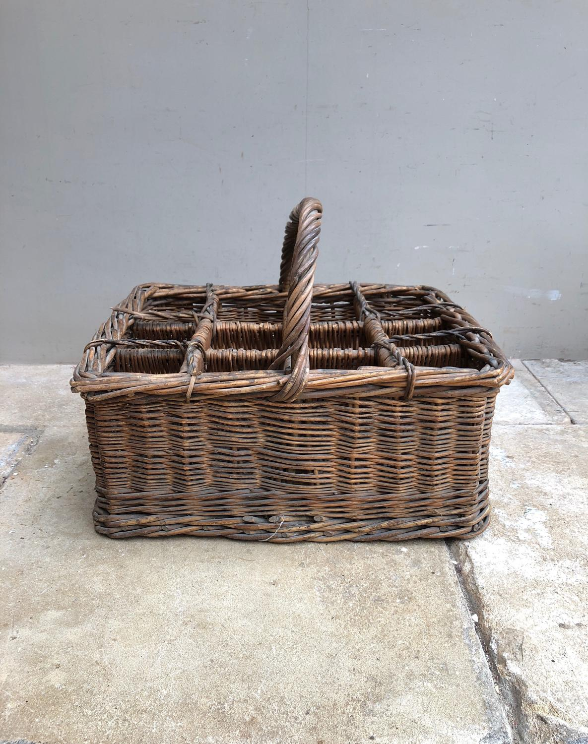 Large Edwardian 12 Champagne Bottle Basket - Superb Condition