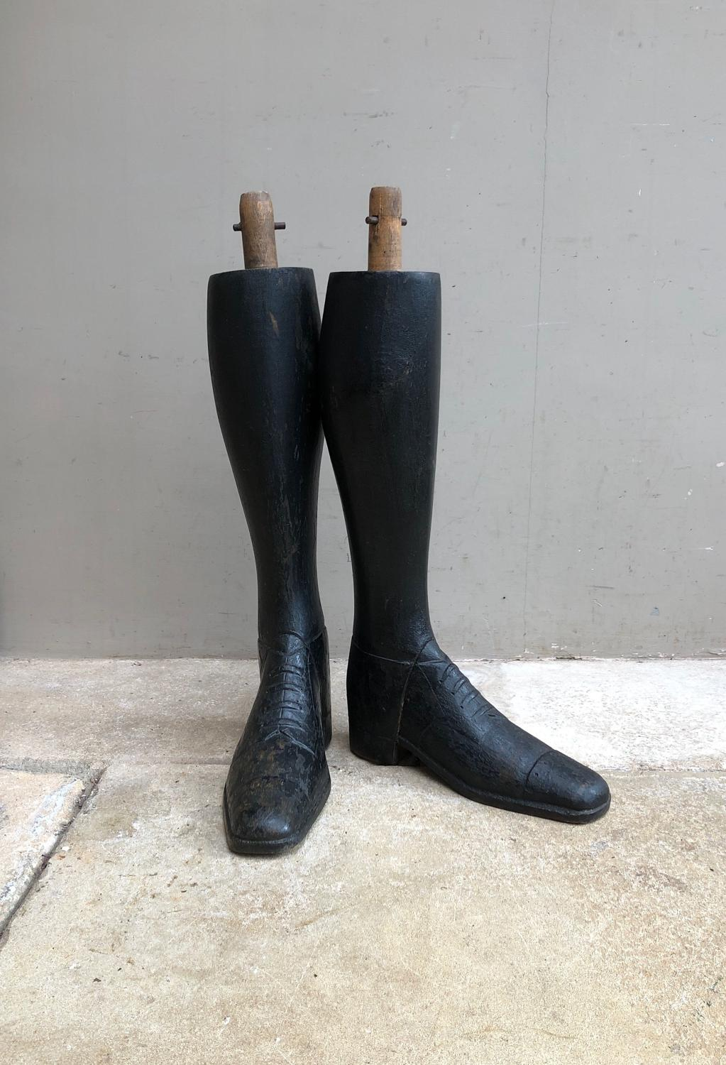 Rare Victorian Hand Carved All Wooden Mannequin Legs-Boots