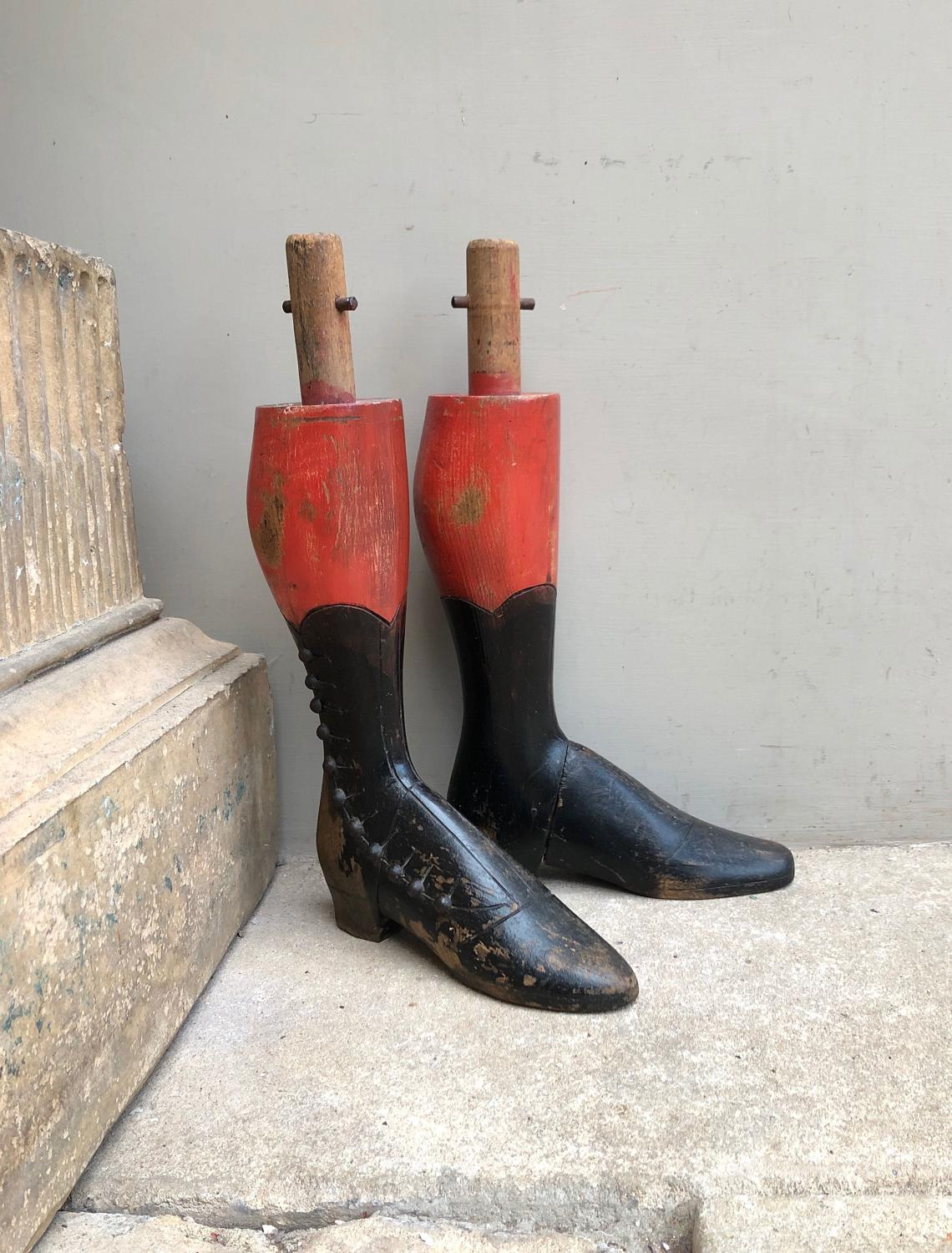 Rare Victorian Childs Hand Carved Mannequin Legs-Boots Orig Paint