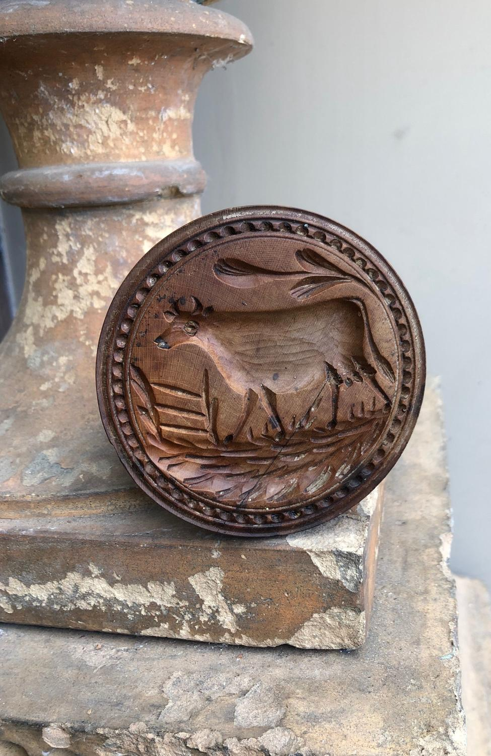 Victorian Hand Carved Treen Butter Stamp - Cow with Gate