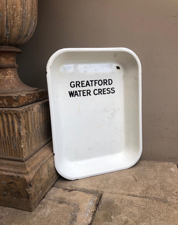 Rare Early 20thC White Enamel Advertising Tray - Greatford Water Cress