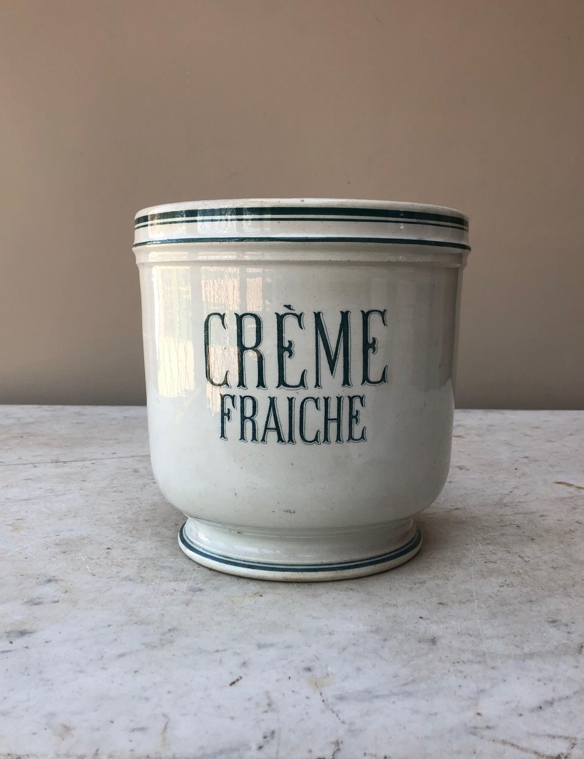 Large Early 20th Century White Ceramic Creme Fraiche Pot