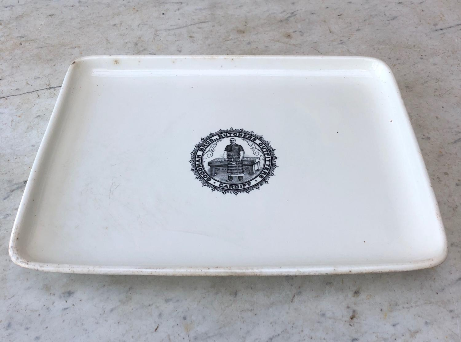 C1900 Large White Wedgwood Butchers Display Plate - Superb Logo