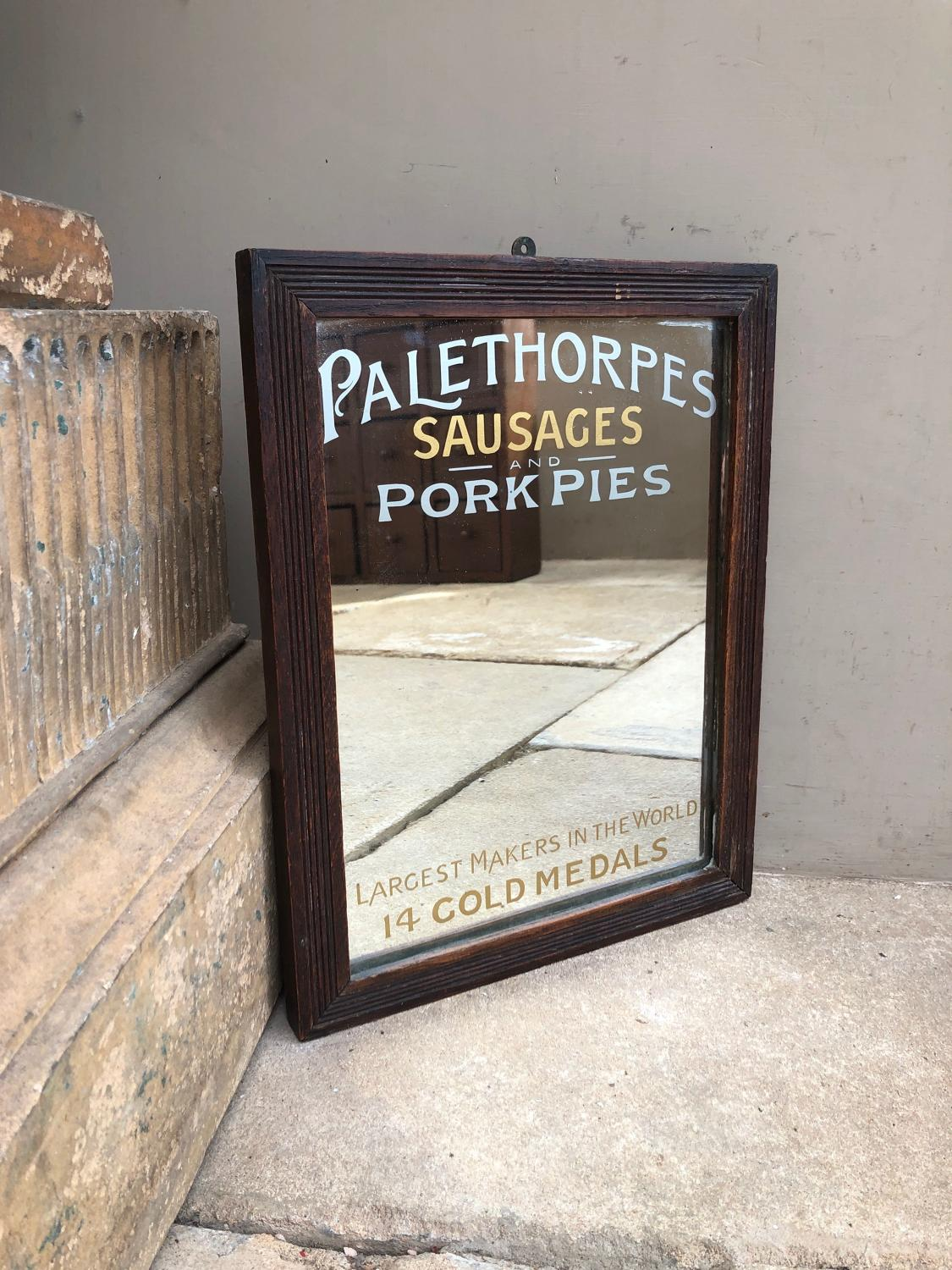 Rare Edwardian Advertising Mirror - Palethorpes Sausages & Pork Pies