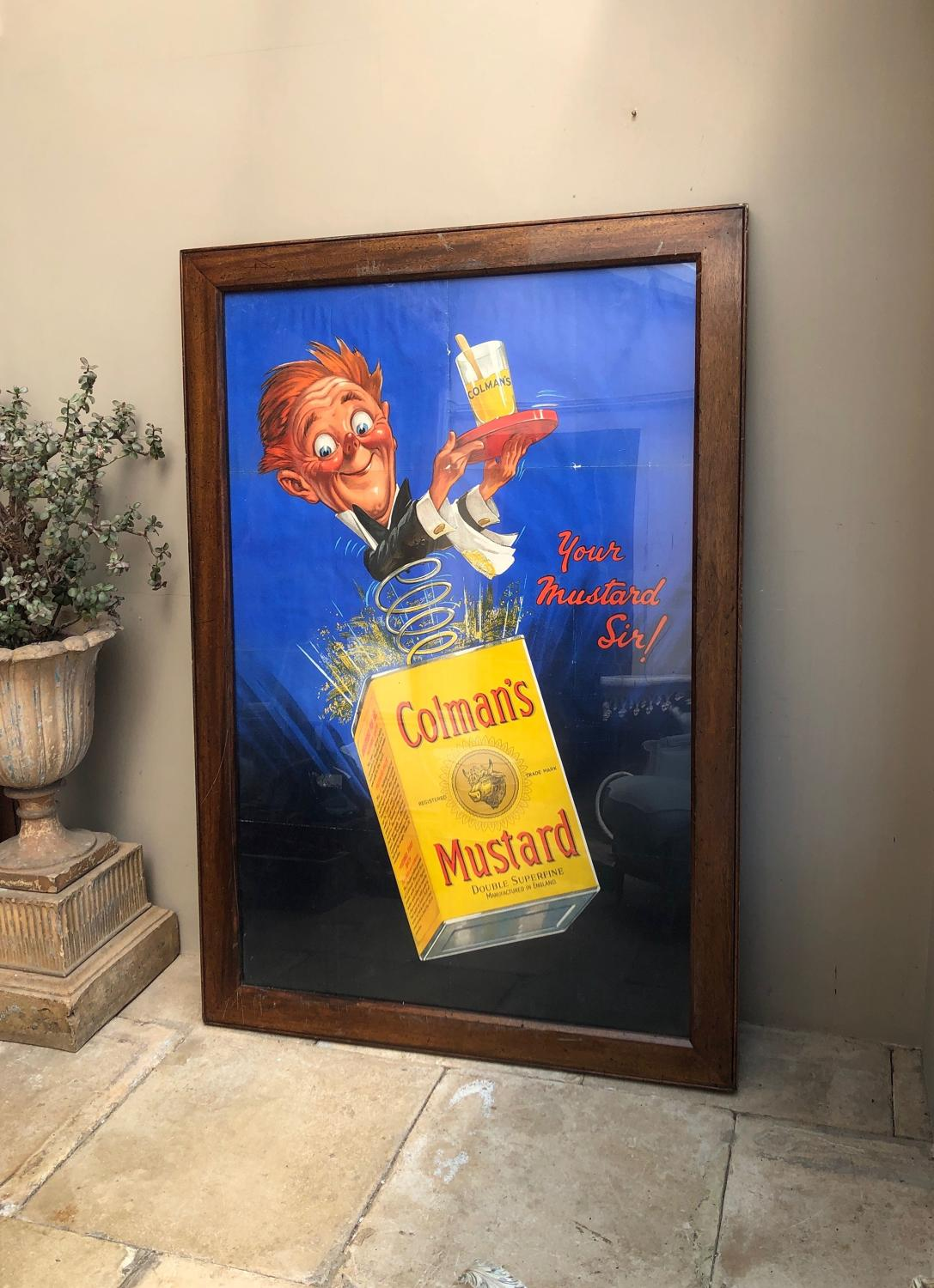 Huge & Rare Antique Colmans Mustard Advertising Poster