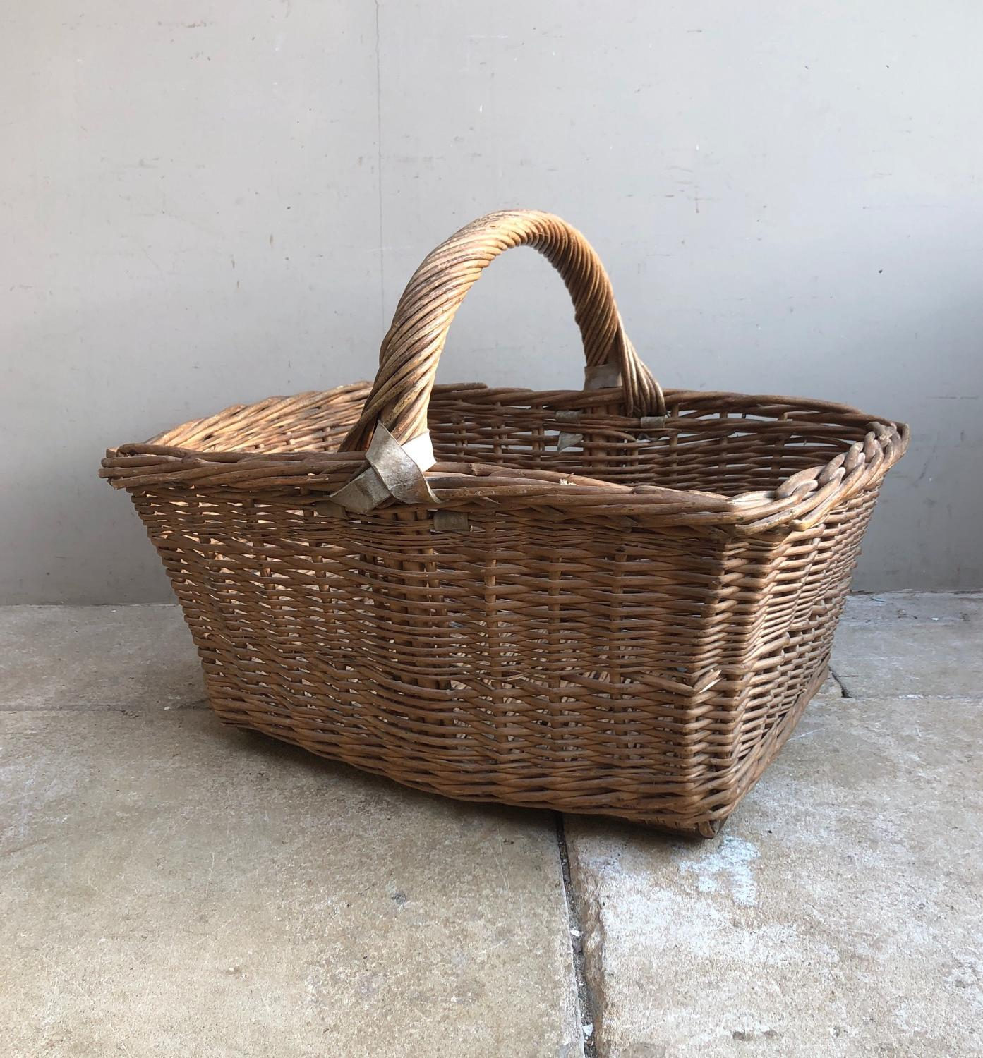 Large Edwardian Leather Bound Bakers Basket in Lovely Condition
