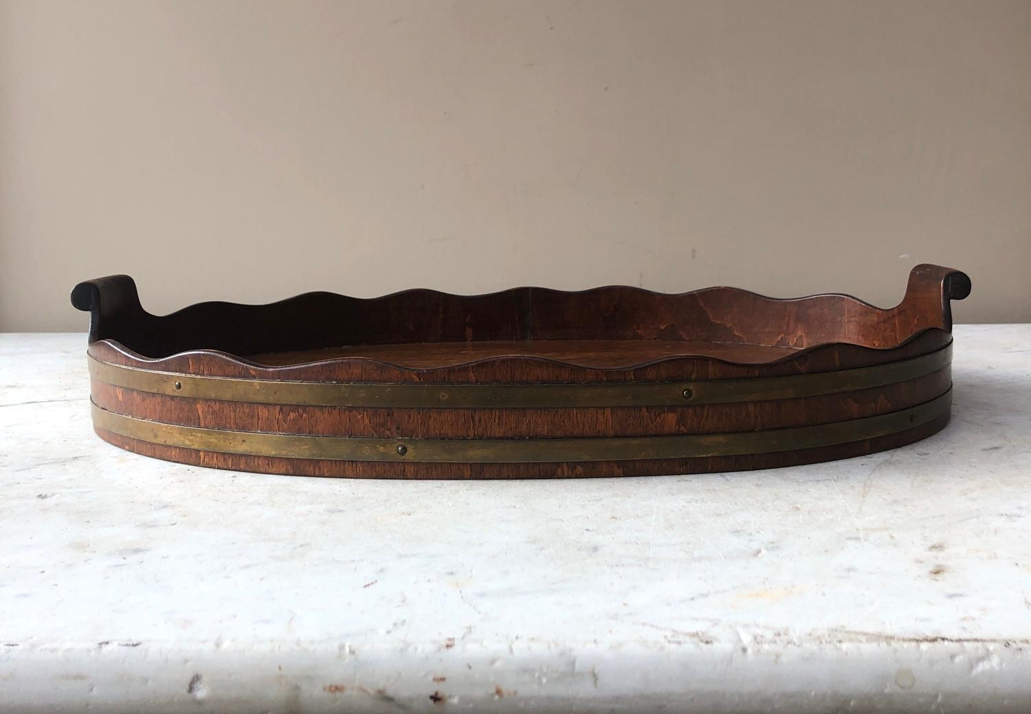 Early 20th Century Brass Bound Mahogany Scallop Top Tray