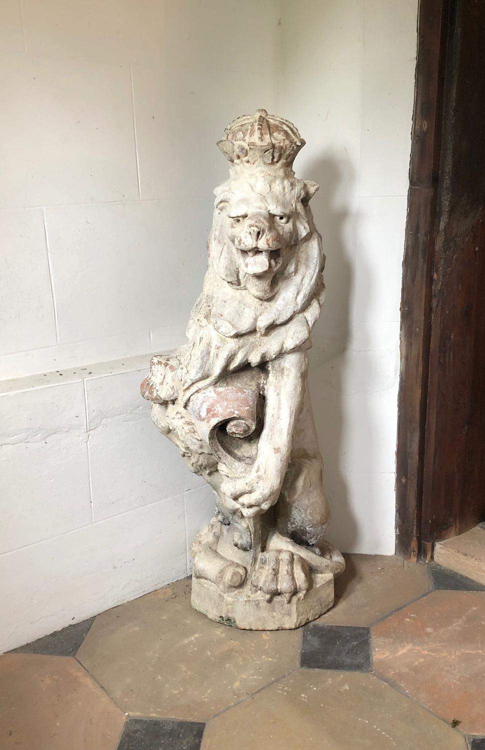 Large Victorian Terracotta Lion Statue with Crown & Sheild