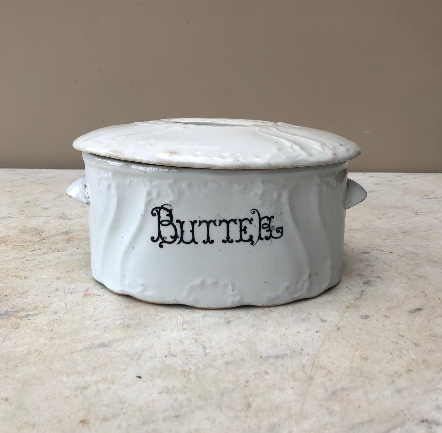 Late Victorian White Ironstone Butter Dish with Original Lid