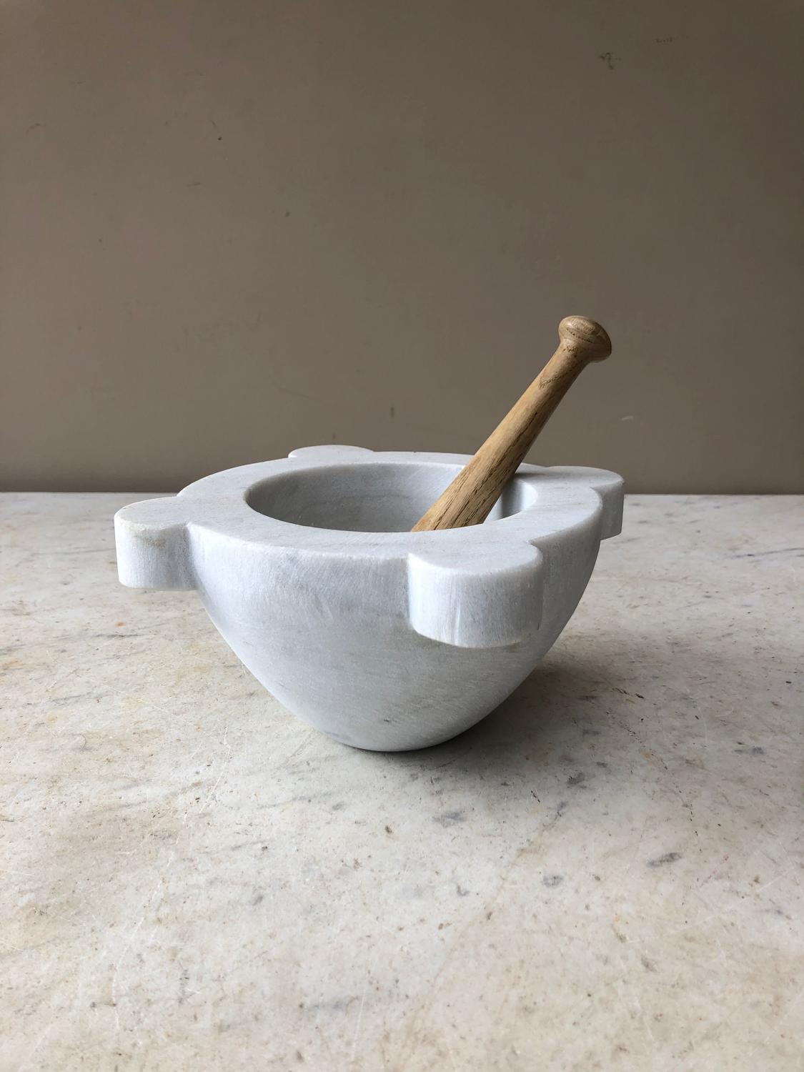 Rare Small Size Victorian Marble Mortar with Pestle