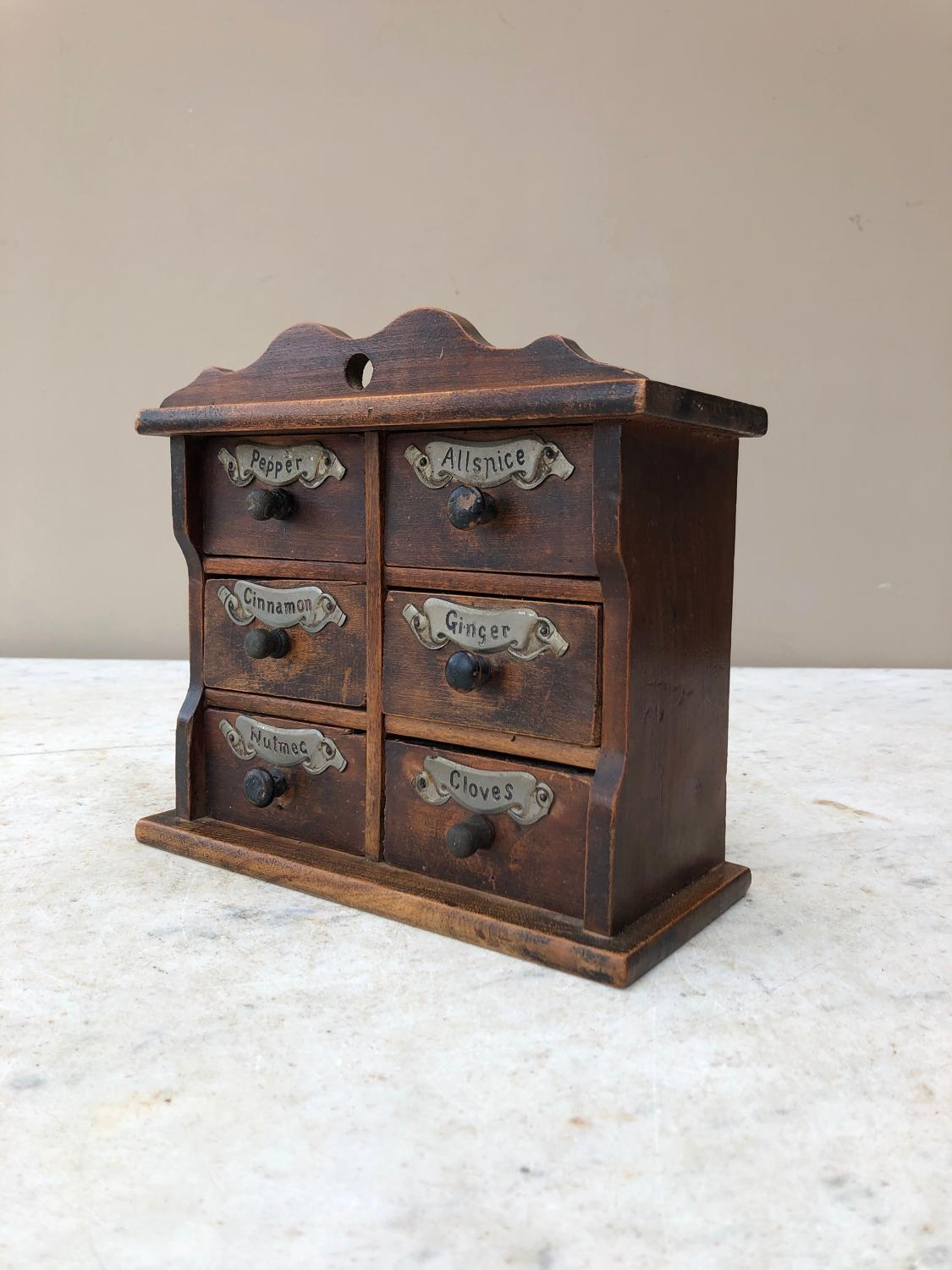 Victorian Treen Six Drawer Spice Chest with Original Labels