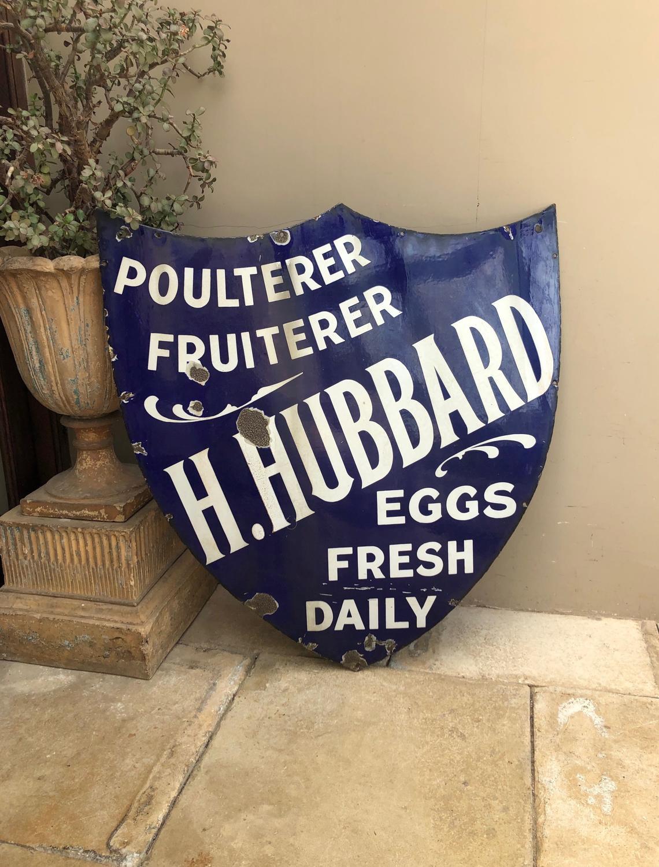 Large Early 20thC Cobalt Blue Shield Shape Enamel Shop Sign- Hubbards