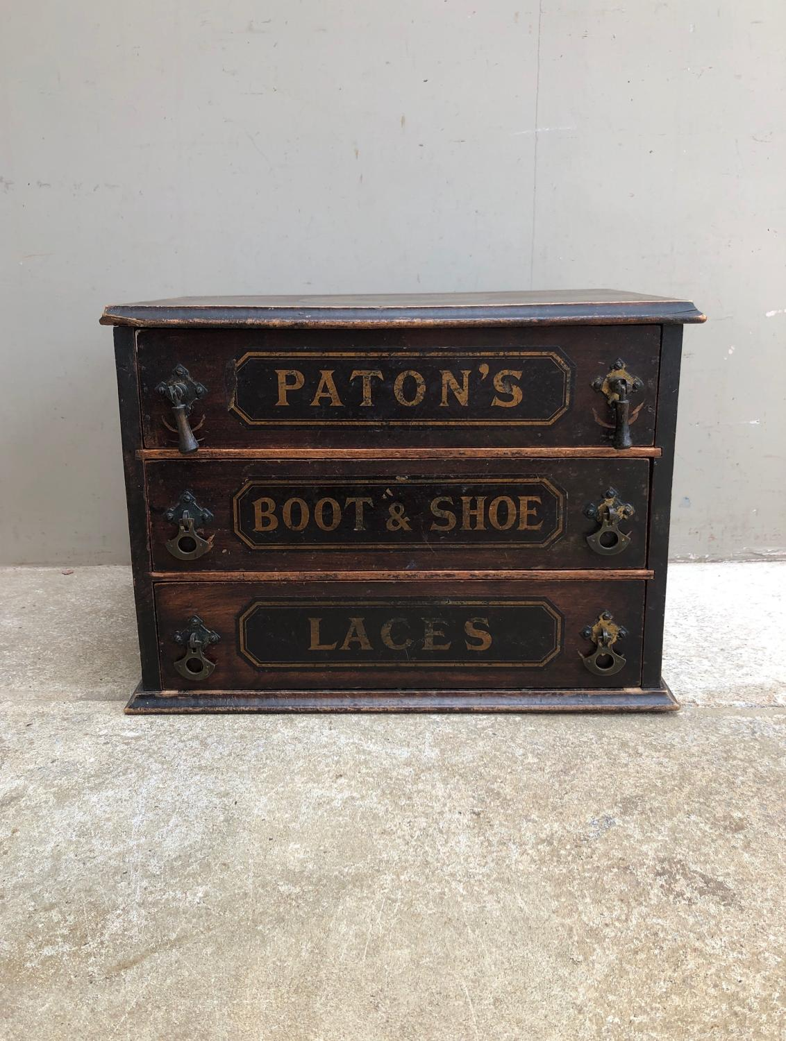 Edwardian Shops Advertising Drawers - Patons Boot & Shoe Laces