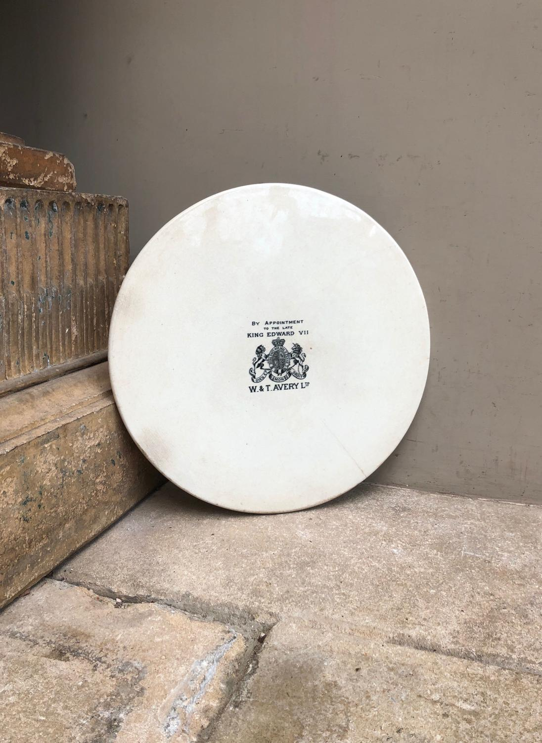 Huge Edwardian White Ironstone Avery Scale Plate - Perfect for Cheese