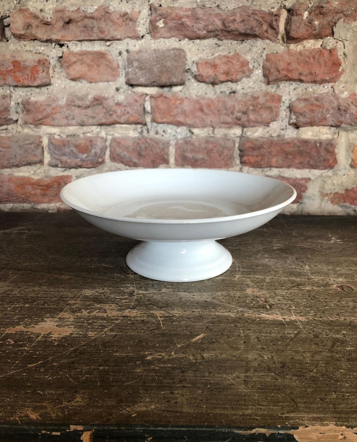 Early 20th Century White Ironstone Pedestal Dish - J&G Meakin