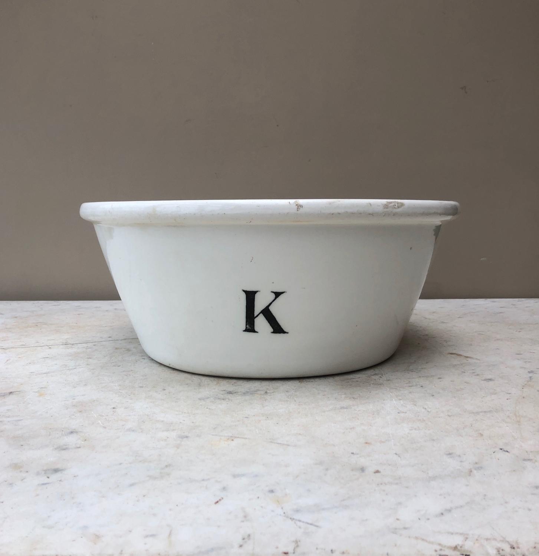 Large Edwardian White Ironstone Black K for Kitchen Bowl