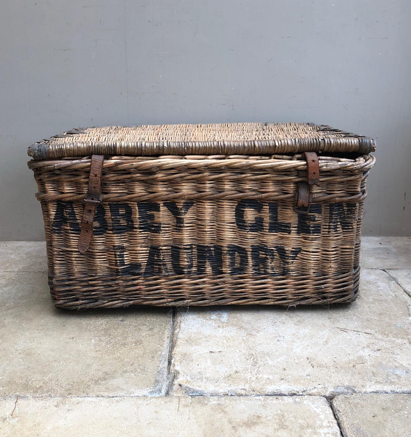 Early 20thC Leather Bound Laundry Basket in Super Condition