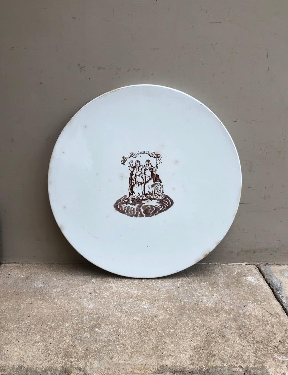Huge Edwardian White Ironstone Scale Plate - Justice Centrally & Lion