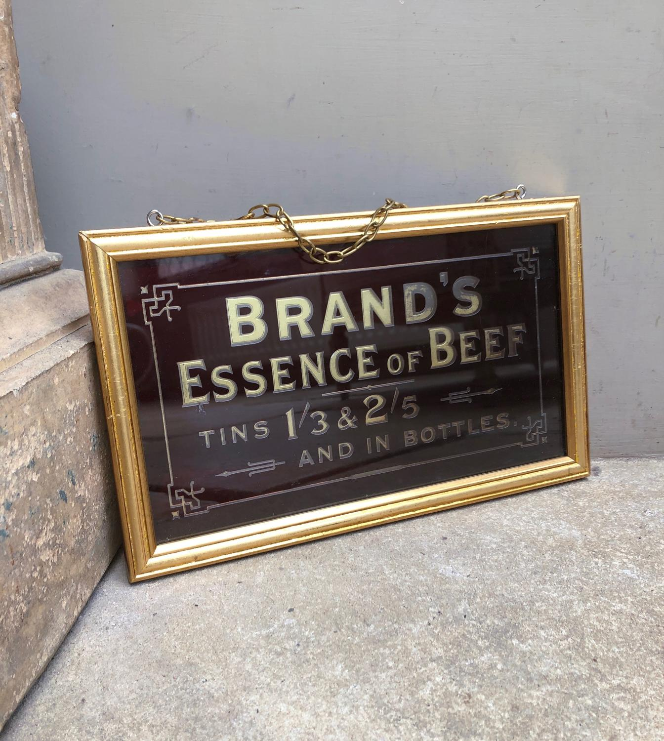 Edwardian Glass Reverse Painted Advertising Sign-Brand's Essence Beef