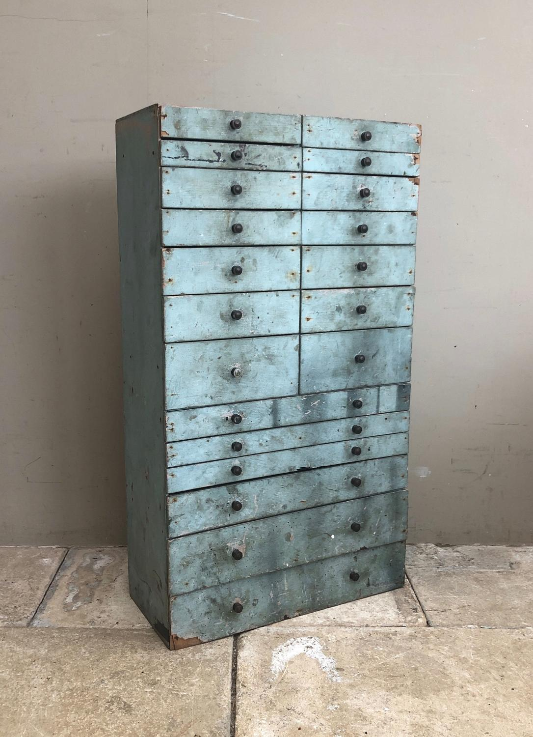 Early 20th Century Bank of Twenty Drawers in Pale Blue Original Paint