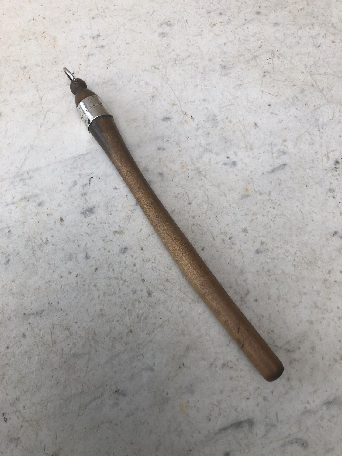 19thC Scottish Porridge Stirrer-Spurtle-Silver Collar-Keep Stirrin