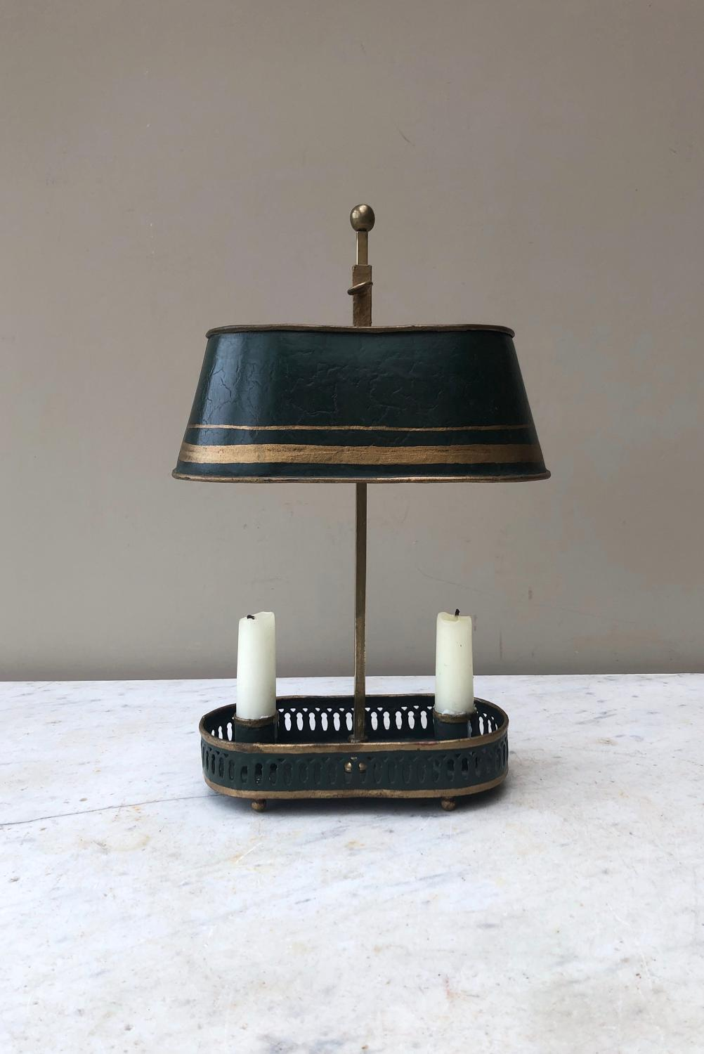 Early 20th Century Toleware Double Candle Holder Lamp