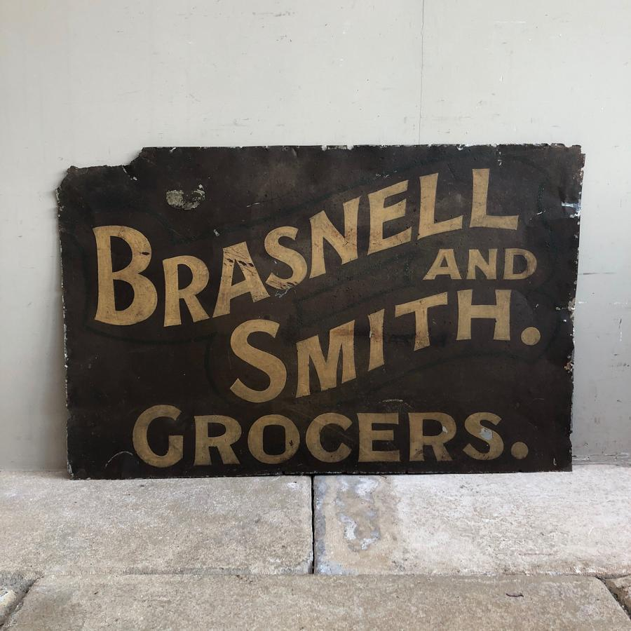 Late Victorian Hand Painted Tin Grocers Sign. Perfect for Framing.