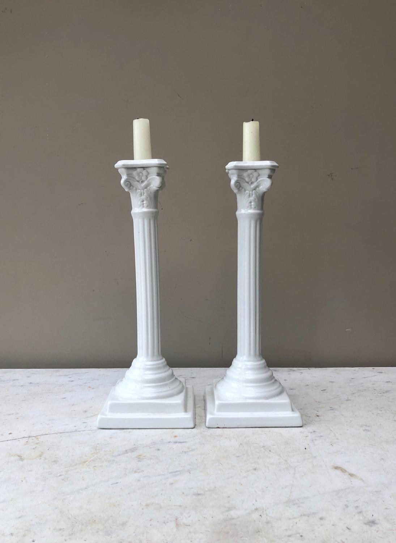 Large Antique White Ironstone Corinthian Column Candlesticks