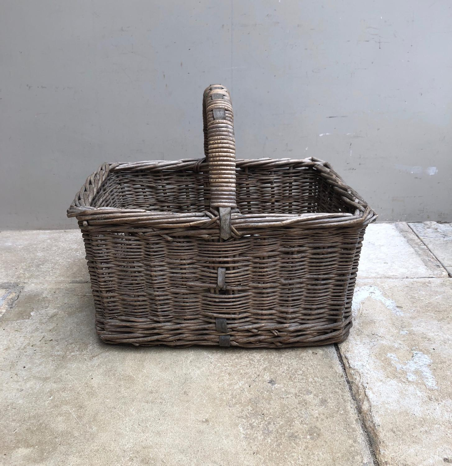 Edwardian Leather Bound Bakers Basket