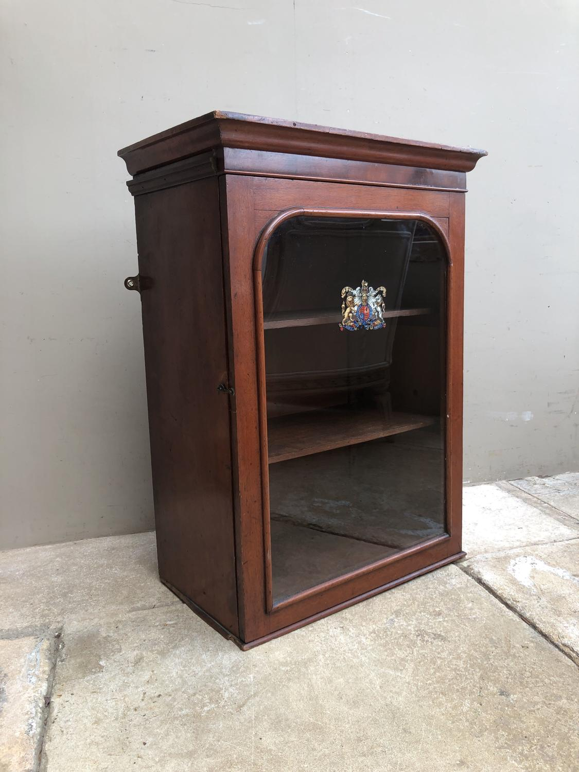 Late Victorian Shops Display Cabinet with Royal Warrant Crest to Door.