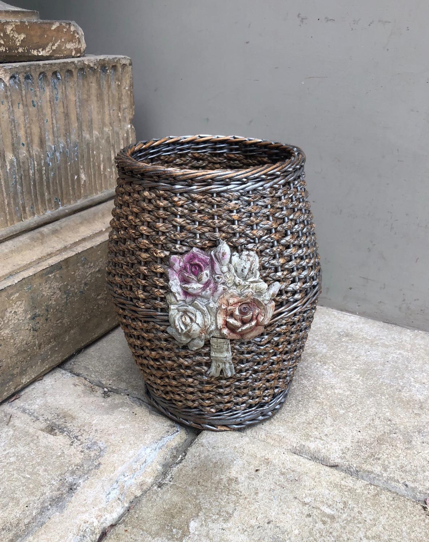 1930s Floral Fronted Waste Paper Basket - Original Paint