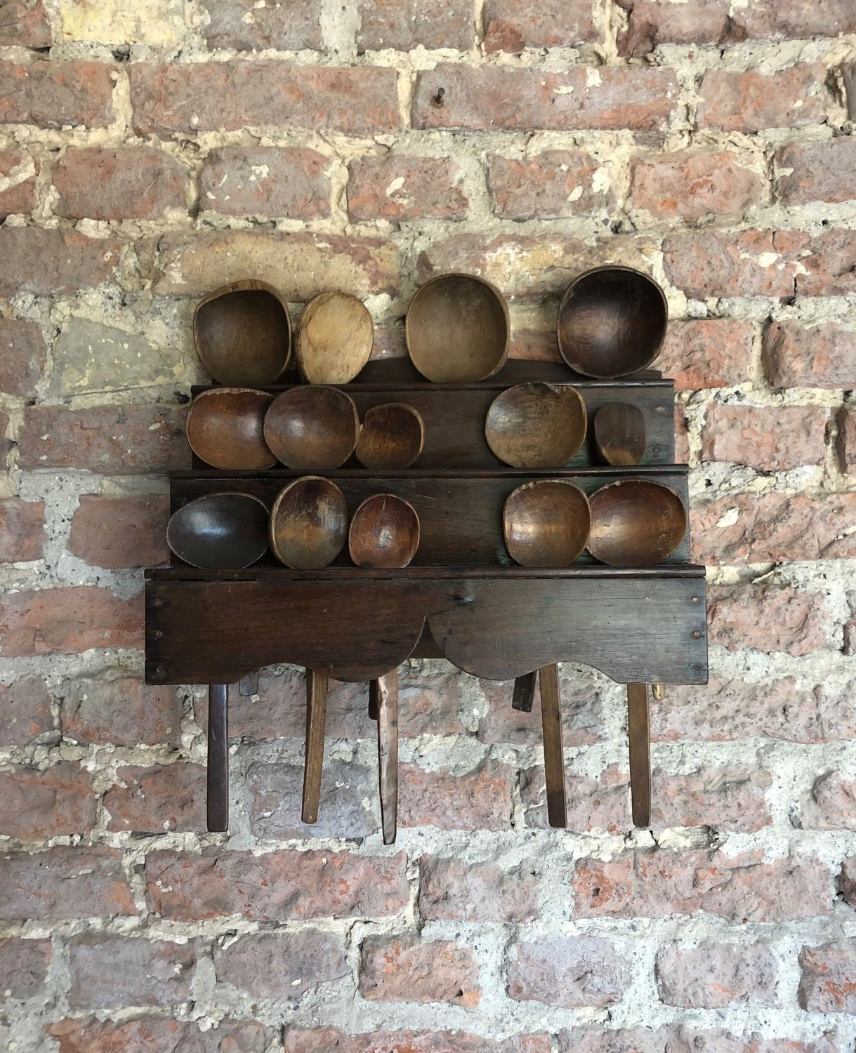Georgian Oak Three Tier Spoon Rack - Spoons Listed Separately