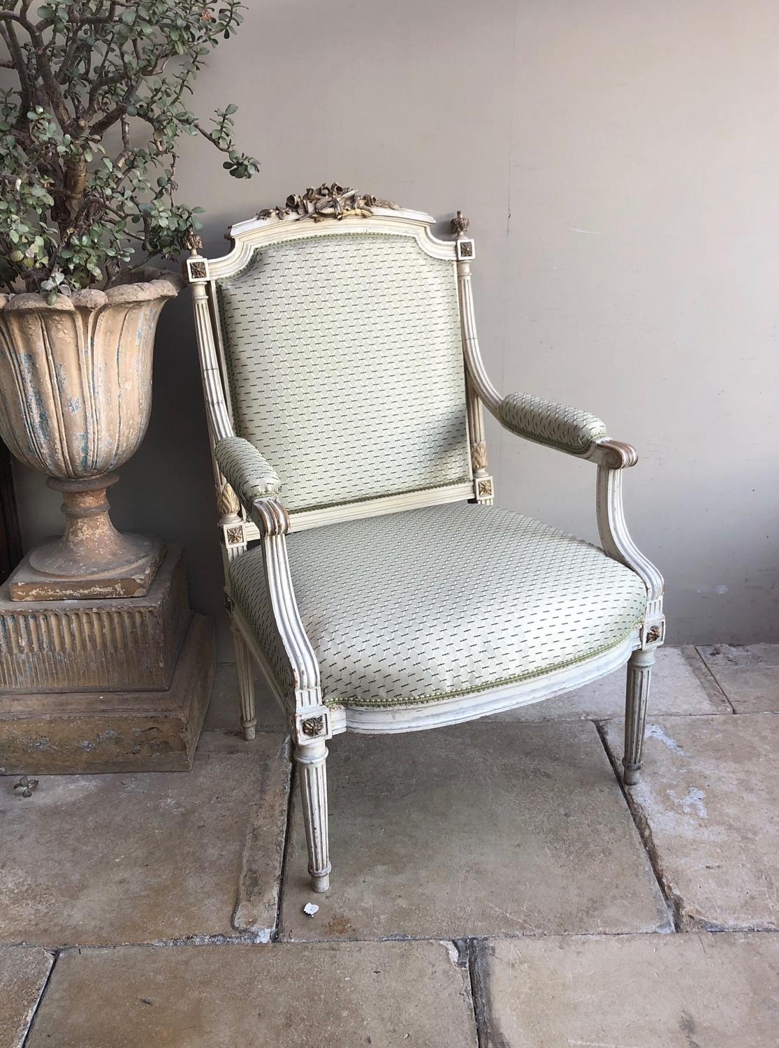 Pretty Victorian Chair in Original Paint & Recent Upholstery