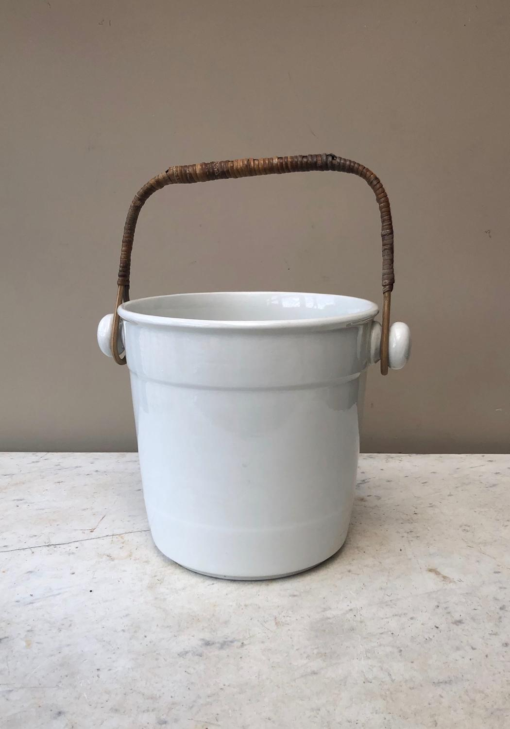Edwardian White Ironstone Bucket - Wine Cooler - Mint Condition