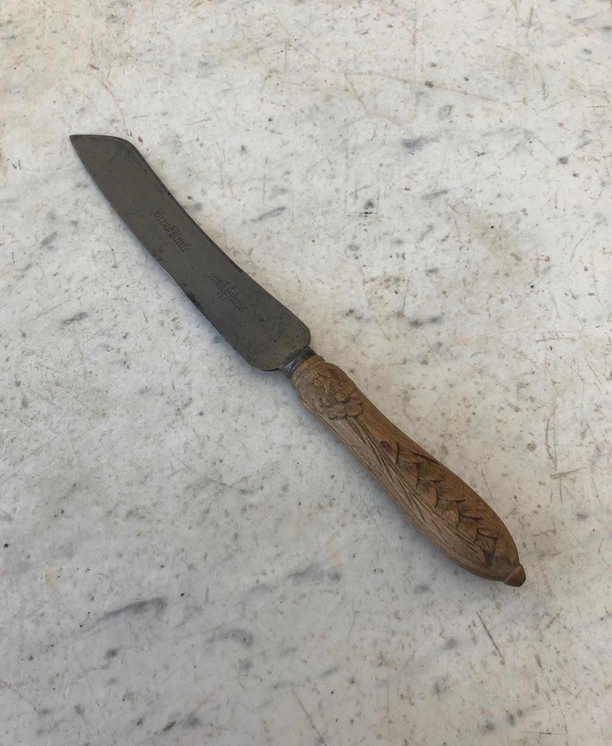 Victorian Carved Treen & Steel Bread Knife. VR Stamp