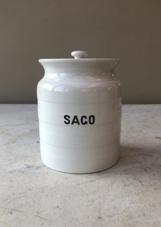 Early 20th Century White Banded Kitchen Storage Jar - Sago