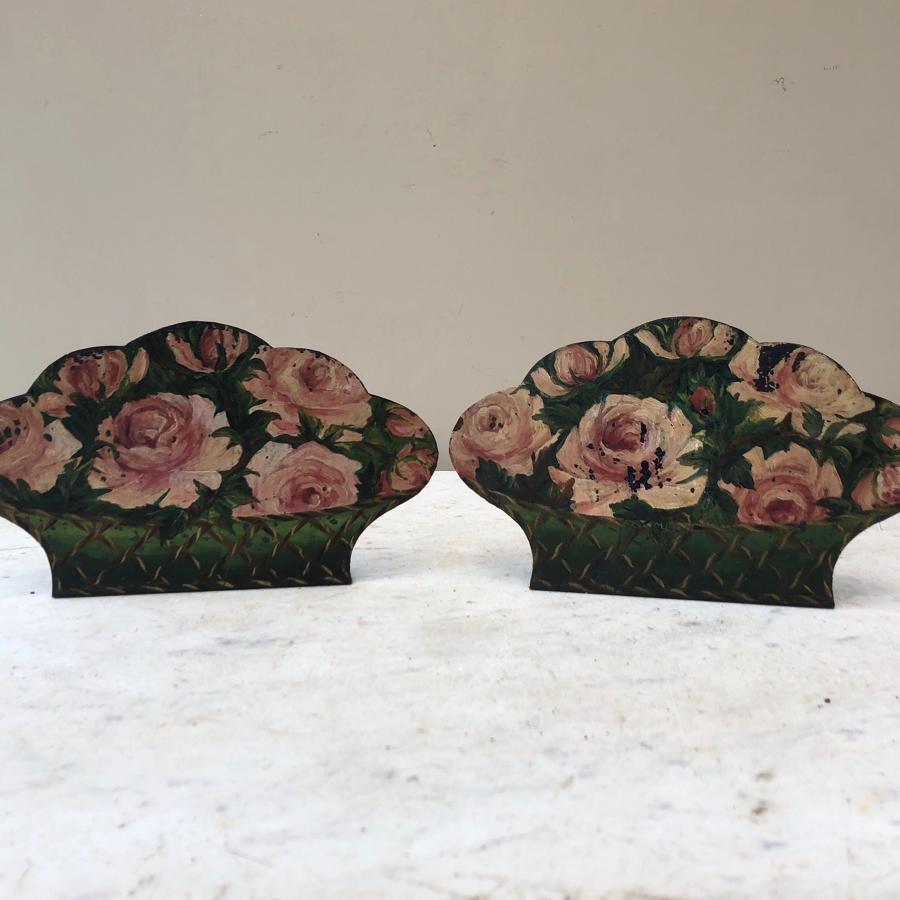 Edwardian Pair of Toleware Bookends...Roses in Baskets