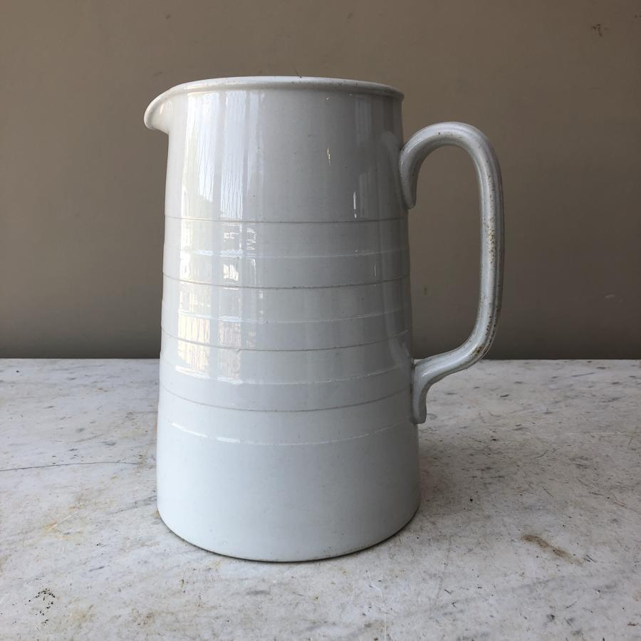 Edwardian Tall White Banded Ironstone Dairy Milk Jug
