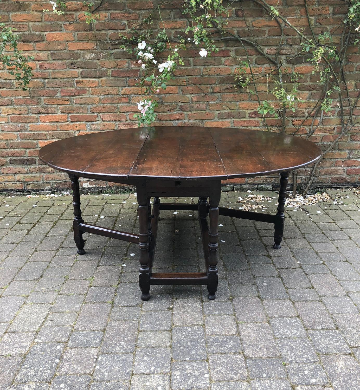 Early 18thC Oak Gateleg Table with Drawer - Superb Colour
