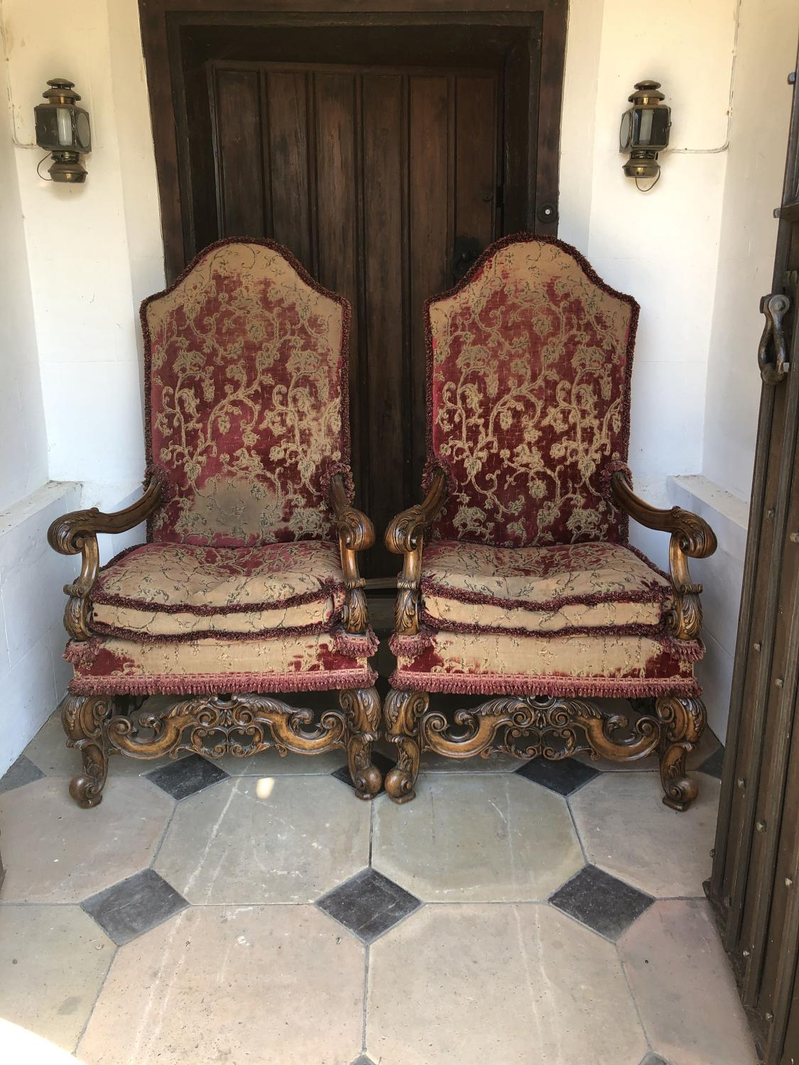 Pair of King & Queen Queen Anne Style Chairs - Quality Chairs c.1920