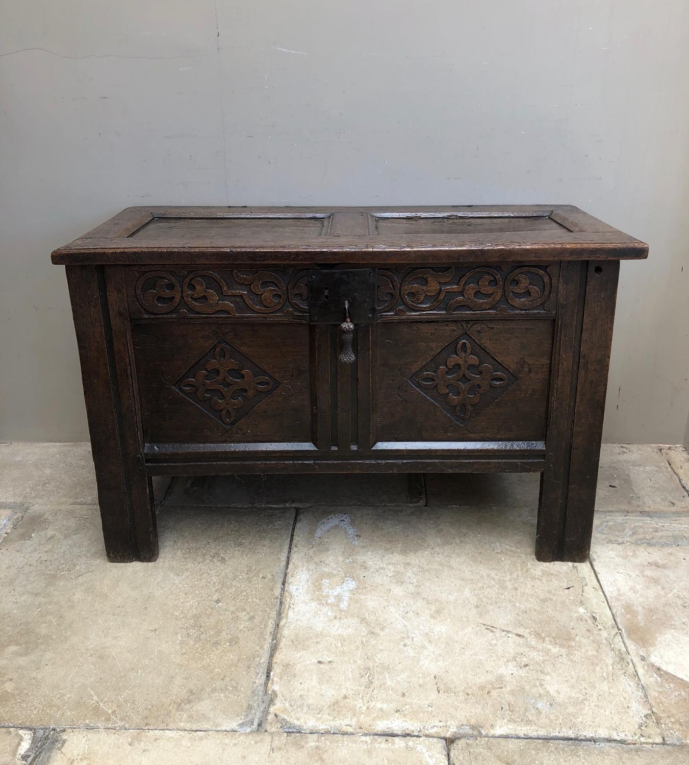 17th Century Carved Oak Coffer with Panelled Top & Sides
