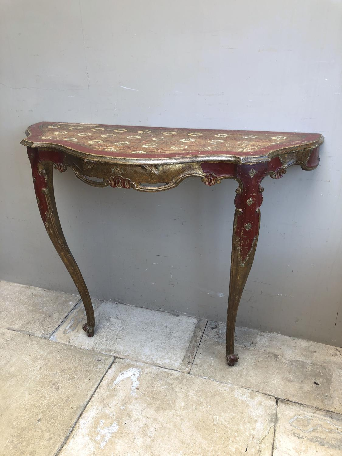 Antique Painted Pine Console Table c.1920