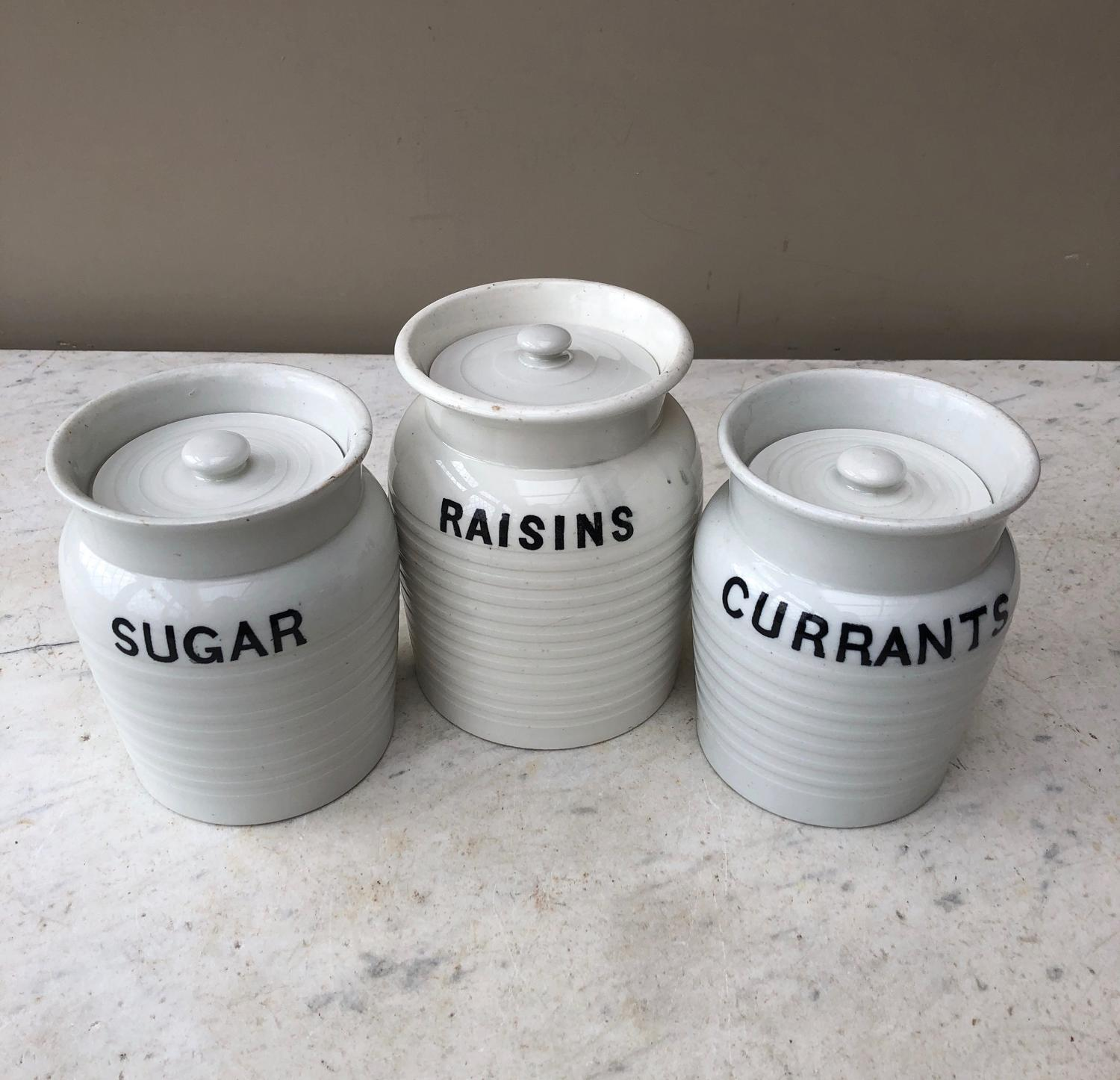 Edwardian White Banded Kitchen Storage Jars - For Sale Individually